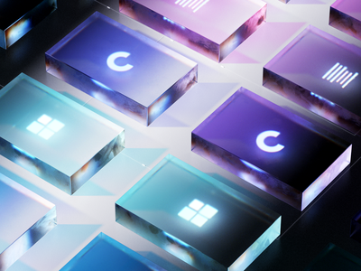 Data center visual still c4d microsoft icons set pryon brand branding database dataviz animation illustration 3d data visualization transpernt glass icons data