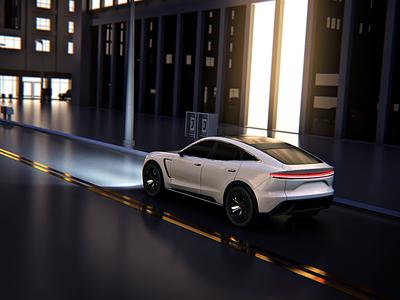 Night city driving 3D c4d 3d animation motion selfdriving autonomous autonomous car electric super car sportcar hmi automotive design video demo ev vehicle car automotive driving