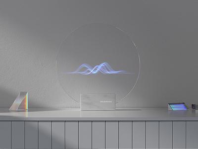 Home voice assistant design artwork artist cgart cg identity branding hologram holographic simple ui waves soundwave sound interface intelligence voice search voice assistant voice home assistant