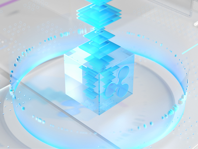 Ripple illustration c4d octane glassy blues cold 3d motion illustration art nft glass fine art illustrations fintech banking crypto wallet crypto ripple illustration