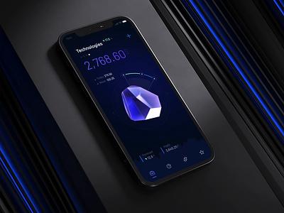 Stock market iOS app by milkinside financial theme dark night blue branding design c4d ux illustration 3d motion ui flow bank banking fintech stock animation motion graphics