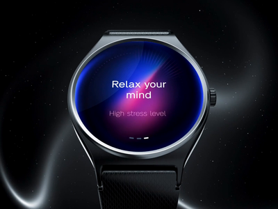 Relax your mind UI for watch OS ux ui digital watchface slider countdown clock animation mental health fithness stress relax wireless wearable wearos watchos ios os watch