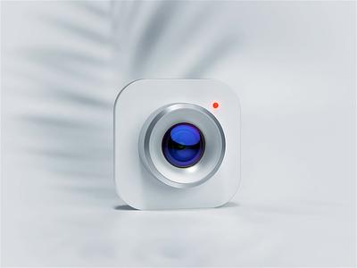 Camera 3D icon graphic design apple ios agency identity branding design c4d ui motion illustration 3d animation leica clean white lens photo camera icon