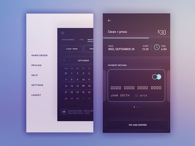 iOS Simple App Payment  back price icons time minimal menu cards color simple payment