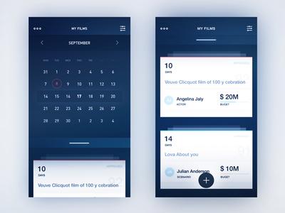 Info cards / Calendar todo material swipe filter date cards calendar menu ux ios icons category