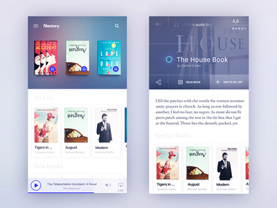 Books app Concept player blured cover share buttons slider shadow apps book concept