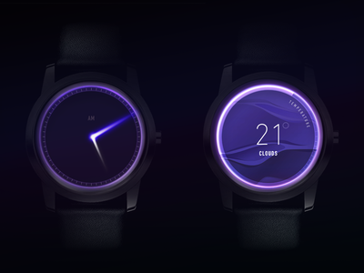 Clock Glow Concept ux circle loader timer am weather dark light arrows glow clock concept