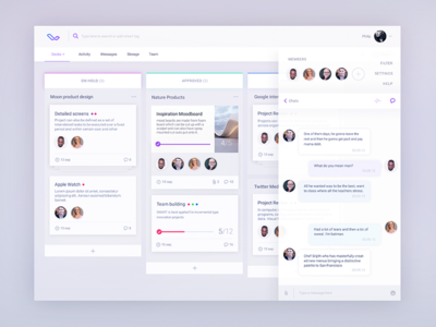 Workflow board UX  ios ux structure cards storage social messages chat concept ui app saas