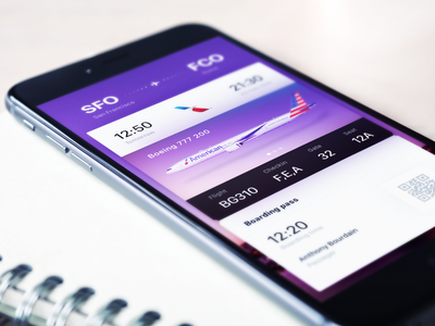 Informative Tickets ios ui ux color boarding pass airlines plane boing exploration fantasy tickets travel