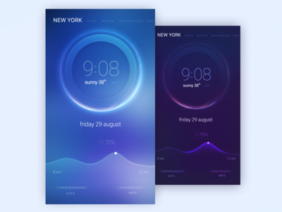 Clock concept os night dark city newyork home clock light concept glow effect