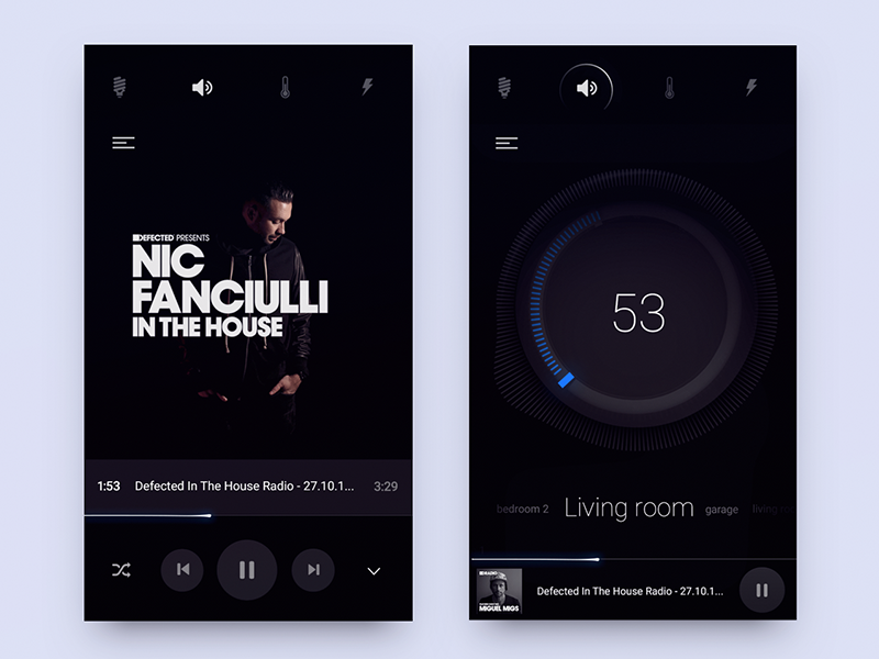 Sound Part of smart home product UI  ui ux os loader icons energy house knob play control music smart home
