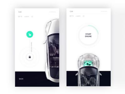 Tesla control center for Smart Home app by Fantasy black clean white mobile iphone ui unlock automotive doors control car tesla