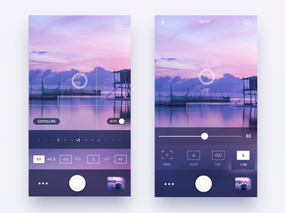 Photo Camera iOS app dots switcher settings blur glow image sky pink camera photo app ios