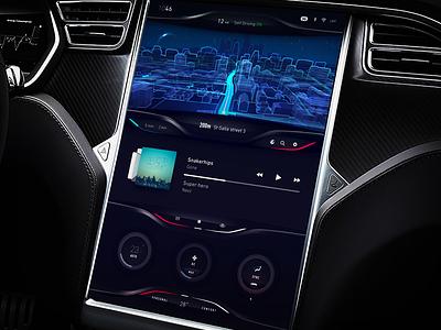 Tesla Dashboard UI/UX exploration cluster ux visual line 3d map car climat exploration dashboard tesla concept