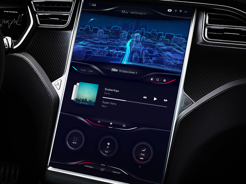 Tesla Dashboard UI/UX exploration cluster ux visual line 3d map car climat exploration dashboard tesla concept