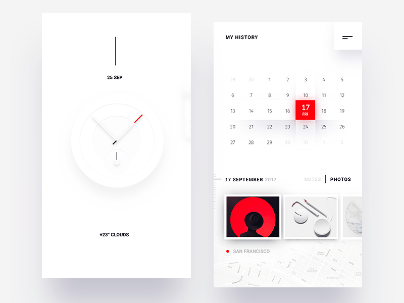 Simple calendar history and watch face exploration  ui ux arrow line dots red white face watch clock calendar history