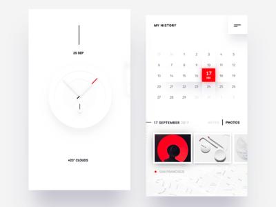 Simple calendar history ui ux arrow line dots red white face watch clock calendar history