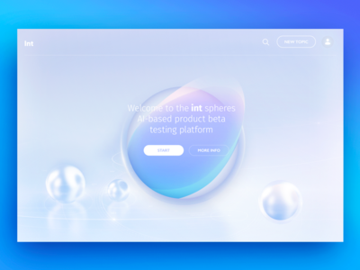 Landing page exploration for AI-based product by gleb ux ui light white centred visual direction colors page landing ai circle
