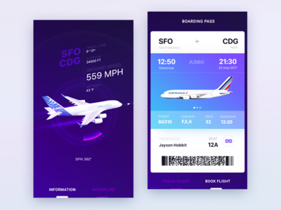 UI design exploration for Airbus iOS app info pass boarding a380 flights ticket travel ar ux ui app ios