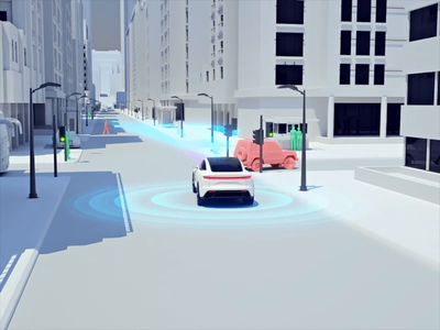 EV radar sensors for product launch illustration 3d landscape city video background vehicle cars product automotive circle ai animation aep ux motion video art c4d render ev video app
