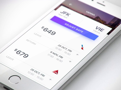 Airlines booking UI for fantasy date icons morphing branding data graphic ecommerce booking price more class ae 3d ios animation aep ai motion ux ui