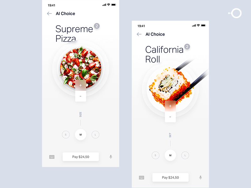 Pizza order UI design ae aep design white ai ios circle user center design user account art food app app ecommerce ordering food pizza illustration animation motion ui
