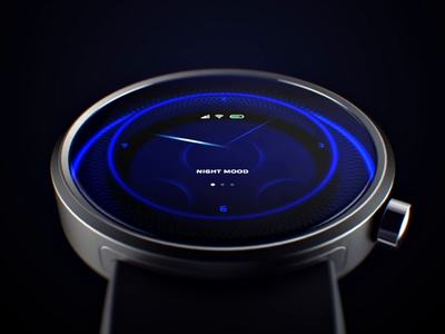 Smart watch design ui  ux operating system os design industrial 3d music sound lights animate dots face watchface line energy icons menu watch smart ui