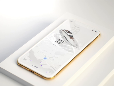 Immersive experience mockup iphonex gold app flight vehicle car yacht boat menu branding design product illustration automotive c4d ios animation motion ui