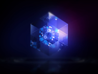 Glass cube visual for AI product