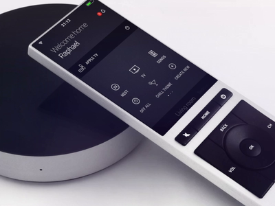 Smart remote control design nest icons smarthome launch interaction loading navigation landing page main launcher home menu button thermos thermostat os dark app farewell remote neeo