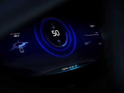 Distance for instrument cluster aep design motion 3d ui transition automotive vehicle interaction animation typography speed dashboard cluster circle size distance distronic suv