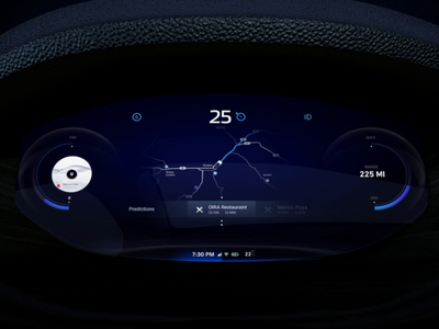 Cluster Navigation design motion animation operating system navigate navi map energy blue round circle electric hmi car dashboard car instrument points poi navigation cluster sfmotors