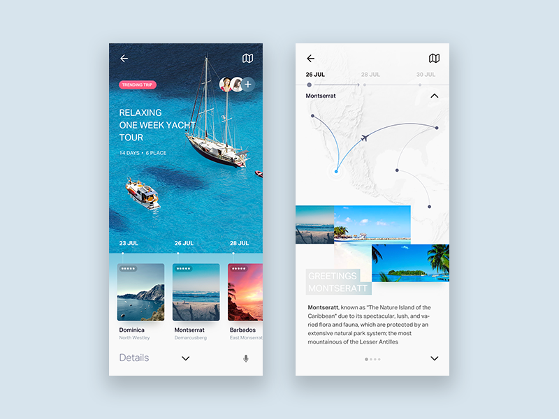 Travel UI design for AI product ui design blue water ship hollidays landing main layout content images cards aircraft plane navigation rouad trip preview planning travel