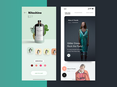 Health and Beauty iOS app concept ux ui health care organic green newsfeed feed play picker colors cart image iphone app ios health app beauty health and fitness health