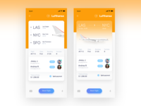 Gradient flight ticket UI design