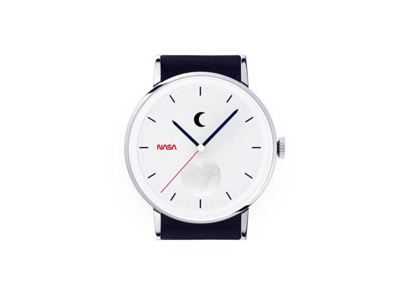 Nasa simple moon watch design flying rocket clock sketch simplicity white space moon earth planet watch simple nasa