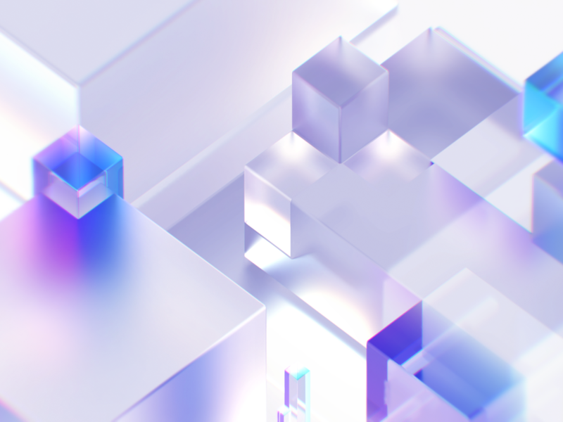 Colorful Glass brand visual maxon c4d 3d authentic green cube textures transparent clean blue and white glass purple blue colorfull