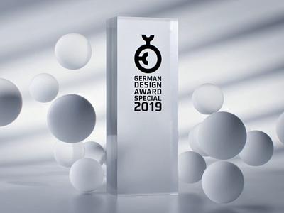 German design awards 2019 artist award 2019 c4d 3d animation motion product simulation air sphere bubble glass awards design german