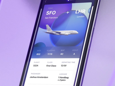Boarding pass with a seat map preview iphonexr glass blue passport interior maps flight travel seating illustration c4d 3d motion ui animation seats preview map seat boarding pass