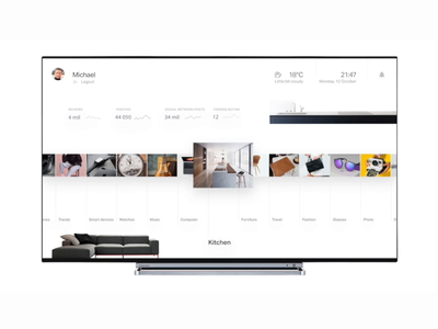 TV shopping experience for Natural AI 3d animation motion ux ui clean simple tv app smart oem samsung wave ai voice furniture screen big tv