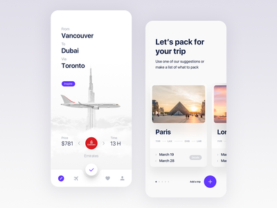 Travel app home screen UI design ui traveling time add paris emirates airlines book booking travel app trip simple clean white clouds aircraft plane icons bar travel