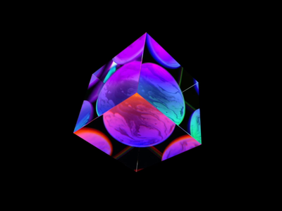 Cube for Dark mode glassy reflection illustraion c4d aep 3d ui animation cgi motion art artist glass element visual ai artificial intelligence sphere