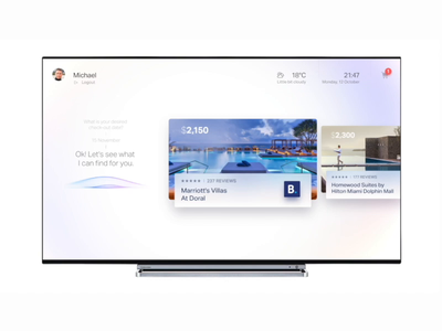 Book a hotel TV experience motion ui home booking hotels marriott smarthome smart door natural artificial intelligence ai voice screen big tv hotel book