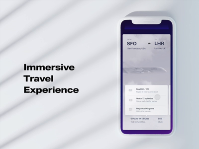Immersive travel experience ios app travel app booking aircraft plane cards branding illustration c4d ai aep 3d animation motion ux ui experieence travel immersive