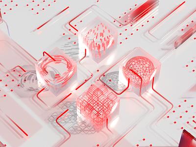 quantum computer art illustration c4d 3d motion graphicdesign future computer quantum abstract art ripple