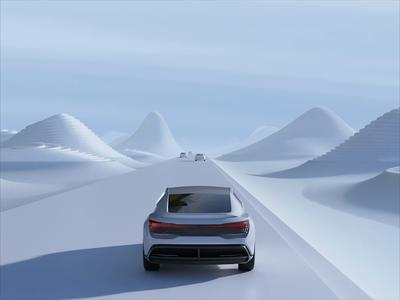 Audi Aicon speed road c4d illustration valley car automotive branding futurism future city 3d render grill view rear white road aicon audi