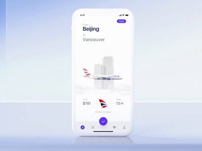 Book a flight UI app ux ui clean location city plane 3d aircraft buttons mockup ios home main loading slider simple button swipe flight