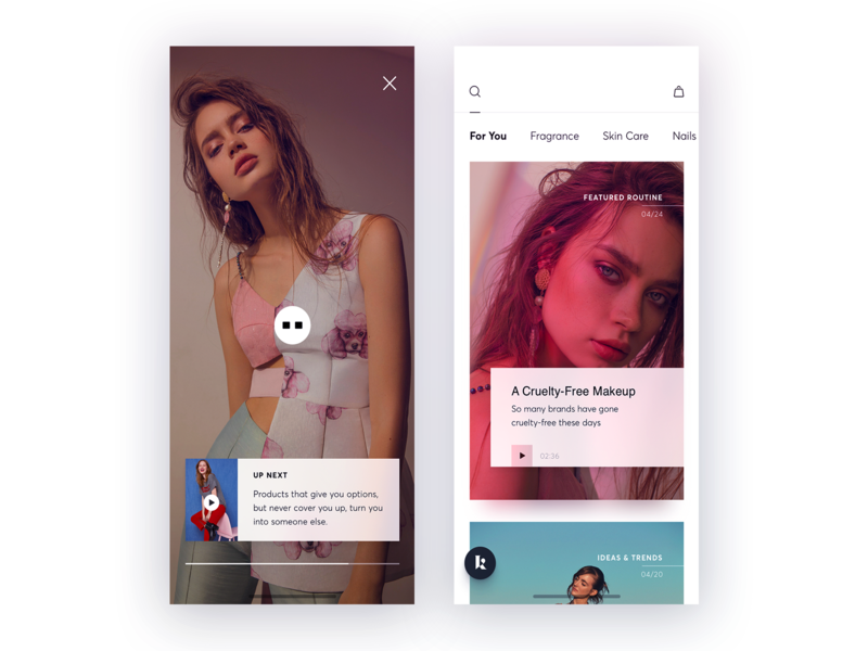 Skin care app UI design
