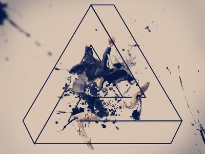 """""""Imposibilidad en su estado puro""""  black triangle raven cuervo design dancer jump sign impossible salto imposible"""