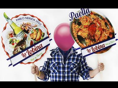 · La Lobina Banners · food restaurant comida fish pezcado corona cerveza beer mar tierra sea food sea